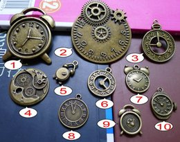 Wholesale Brass Numerals - 9 Styles Antique Bronze Roman Numeral Series Clock Pendants Charms Steampunk DIY Jewelry Crafting Earring Bracelet Necklace