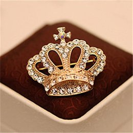 Wholesale Crystal Crown Brooch - Wholesale- Charming Imperial crown Shape Woman Brooches Pins Wholesale Free Shipping Wedding Inlay Crystal Crown Shirt Collar Brooch