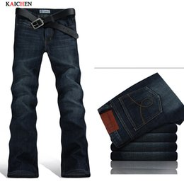Wholesale Free Boot Pattern - Wholesale-Free Shipping High Quality Men's Summer Boot Cut Jeans Male Mid Waist Business wash Denim Pants flares Trousers 28-36