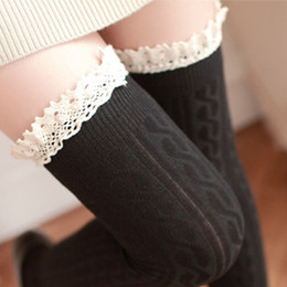 Wholesale Lace Thigh Highs For Girls - Wholesale- New Fashion Women's Stockings Over The Knee Socks Thigh High Stocking Sexy Lace Socks winter warm Stockings For Girls Ladies