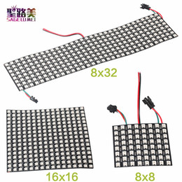 Wholesale Led Matrix Module - Wholesale 8*32 16*16 8*8 Digital RGB LED Matrix WS2812B RGB LED pixel module addressable Individually 2812 Pixel panel screen light lighting