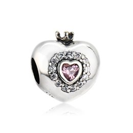 Wholesale Princess Pandora Charm - Authentic 925 Silver Beads Princess Heart Charm, Pink CZ Fits European Pandora Style Jewelry Bracelets & Necklace