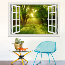 Wholesale blue tree landscaping - Amazing Forest Tree 3D Wall Sticker Removable Window View Landscape Wallpaper Home Decor