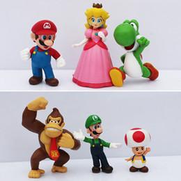Wholesale Peaches Movies - 6pcs set Super Mario Bros Mario Luigi Peach Yoshi King Kong Toad Action Figure PVC Toys 4-6cm Kids Gifts