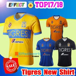 Wholesale 2017 NEW Tigres UANL soccer jerseys thai quality Mexico club Maillot De Foot Home yellow away star GIGNAC football shirts