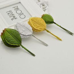 Wholesale Fake Flower Crafts - Wholesale- 24 Pcs 10 CM Nylon Silk Leaf Green Leaves Artificial Flower For Wedding Decoration DIY Wreath Gift Scrapbooking Craft Fake Flowe