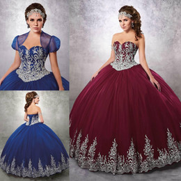 Wholesale Prom Dress Crystal Corset Tulle - Quinceanera Dresses 2017 Burgundy  Royal Blue Tulle Applique Bottom Floor Length Lacing Corset Back Formal Prom Gowns With Jacket