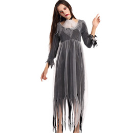Wholesale Zombie Bride Costumes - Ladies The Walking Dead Zombie Bride Horror Halloween Fancy Cloak Dress Costume Horror Black Female Ghost Party Outfit Cosplay W531811