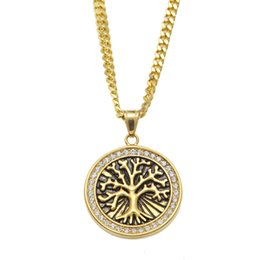 Wholesale Tree Pendant Men Women - Vintage Celtic Tree of Life Pendant Necklace Gold Plated Stainless Steel For Men Women Christmas Gifts
