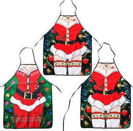 Wholesale White Apron Wholesale - Christmas decoration Apron Merry Christmas Holiday Cooking Aprons Santa Claus Deer Cool Aprons party festive supplies