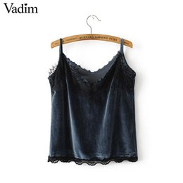 Wholesale Spaghetti Strap Shirts Wholesale - Wholesale- Women sexy lace v neck velvet camis sweet tank tops summer vintage sleeveless tank spaghetti strap shirts casual tops WT376