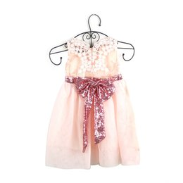 Wholesale Wholesale Christening - Baby girl Party dress sleeveless princess dress Big bow Christmas Princess Dresses Party Dresses party skirts kids clothes Cotton Lace Puff