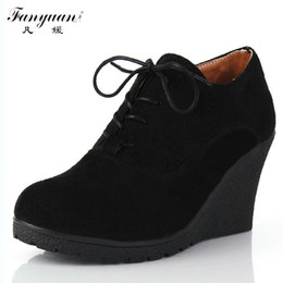 Wholesale Wedges Heels For Women - Wholesale-2015 New Wedges Women Boots Fashion Flock High-heeled Platform Ankle Boots Lace Up High Heels Spring Autumn Shoes For Women