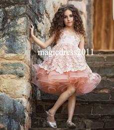 Wholesale Blue Tutu Ribbon Skirt - 2017 Cute Princess Pink A-Line Flower Girls' Dresses Lace Spaghetti Ruffled Tutu Skirt Floor-Length Wedding Kids Communion Dress
