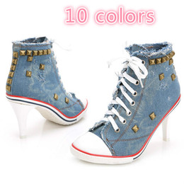 Wholesale cotton cut out dress - New Women's Denim High Heels Rivets Canvas Shoes New Models of New Shoes Ankle Boots