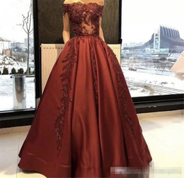 Wholesale Long Sleeved Satin Prom Dresses - 2017 Cheap Burgundy Evening Gowns Sleeved Lace Appliques Long Africa Off the Shoulder Prom Occasion Wears Cheap Formal Celebrity Party Gowns