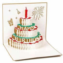 Wholesale carving candles - 10pcs lot Handmade Paper Art Carving 3D Pop UP Card Birthday Cake with Candle Design Cubic Folding Greeting&Gift Cards