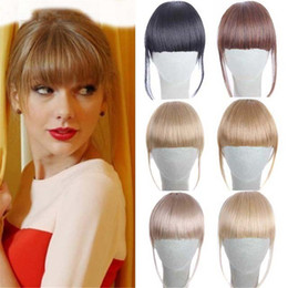 Wholesale Natural Hair Bangs Extensions - 6'' 20g Clip in Bangs Fake Hair Extension Hairpieces False Clip on Front Neat Bang For Women Synthetic Hair Fringe Bangs 1PC Lot