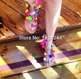 Wholesale Tie Clip Prices - Wholesale- Factory Price 2016 Summer Newest Rome Style Gladiator Clip-toe Tie Up Women Sandals Poms Fringed Lady Flats Sandals Shoes