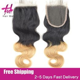 Wholesale Bella Hair Brazilian Body Wave - 100% Blond remy human hair 4x4 Body Wave Lace Hair Closure Three Middle Free Part Brown Nature Color bella hair weave