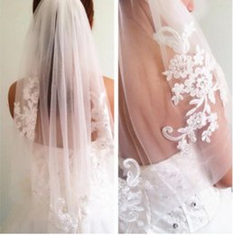 Wholesale Elbow Length Lace Veil - In Stock Fast Shipping White Ivory Wedding Veil One Tier Soft Net Applique 2017 New 150*90 cm