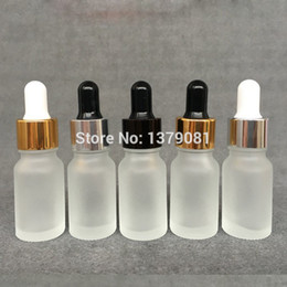 Wholesale Empty Dropper Bottles Glass Clear - 10ML Frosted Clear Glass Bottles With Dropper Mini Sample Vial Empty Essential Oil Bottle Gold Collar,Black,White Rubber Free shipping