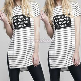 Wholesale Loose Side Shirts - Wholesale-Women Short Sleeve T-Shirt Stripe Letter Print T-Shirt Casual T Shirt Side Split Loose Tops O-Neck Women Summer Tops Tees 41