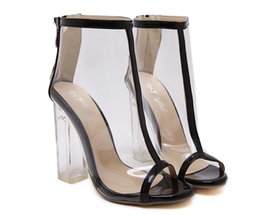 Wholesale Transparent Crystal Boots - Dijigirls Sell like hot cakes New Women's Summer Sexy Transparent PVC Crystal High Heels Fashion sexy Open toe high heel ankle boots