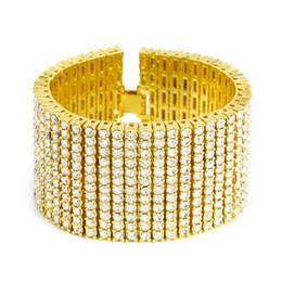 Wholesale 12 Rows Rhinestone - Men Hip Hop Big Shiny Exaggeration Silver Black Gold Plated 12 Rows AAA RhineStone Bracelet Bangle Rapper Gift Fashion Jewelry