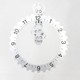 Wholesale Garden Vintage Antiques - Gear Wall Clock Big Wheel Hour Clocks Plastic Vintage Gear Walls Clocks Home Garden Decor Black And Sliver