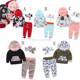 Wholesale Children Spring New Suit 3pcs - 2017 new Children outfits autumn girls boys Bow headband+Hooded printing top+pants 3pcs set baby Floral suits C2298