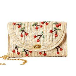 Wholesale Cherry Plain - Wholesale-Weave Embroidery Cherry & Bananas Chain Women Messenger Bags Bohemian Style Mini Women's Messenger Bags AWM99