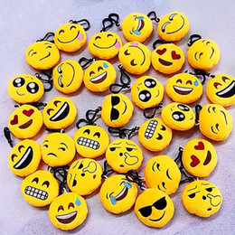 Wholesale Face Cars - 2017 QQ emoji Toys key chain 6cm emoticons smiley little pendant emotion yellow QQ plush pants handbag pendant