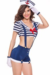Wholesale Sexy Costumes Pirates - MILLYN Sexy Sailor Cosplay Costume 1338 sea navy Pirate costume sexy women role playing Uniform Temptation