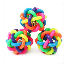 Wholesale Big Play Balls - Dog Chews Toys Puppy Colorful Bouncy Rubber Balls With Bell For Pet Training Playing Chewing For Puppy Medium Large Big Dog Chews Knot