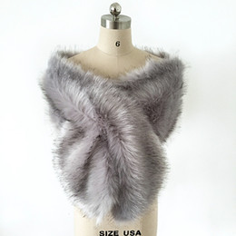 Wholesale cheap faux fur capes - Silver Grey Faux Fur Winter Bridal Wrap Stole Shrug Cheap Wedding Evening Prom Party Shawl Cape Bolero Free Size In Stock