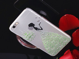 Wholesale Transparent Dress Bling - Princess Dress 3D Stereo Engrave PC Transparent Hard Case For iPhone 6 6S 4.7 inch Crystal Bling Diamond Back Cover
