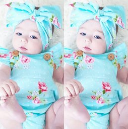Wholesale Headband Tutu Rompers - Baby INS flower Rompers Girl Cotton Lace print romper Bow Girls Ruffled Jumpsuit Toddler Infant Climb clothes without headband
