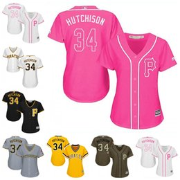 Wholesale Women Fashion Drawings - Women's Pittsburgh Pirates Jerseys #34 Drew Hutchison Baseball Jerseys Ladies Shirt White Black Yellow Pink Fashion Stitched Size S-2XL