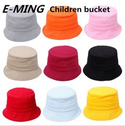 Wholesale Custom Printed Buckets - Children Plain Fishing Hats Kids Blank Bucket Caps Summer Cotton Fisherman Hat Custom Embroidery Printing 11 Color Free Shipping By DHL