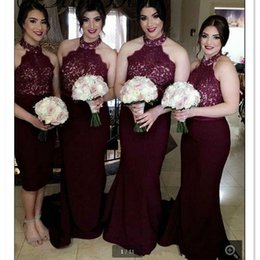 Wholesale Cheap Lace Halter Wedding Dresses - 2017 Burgundy Bridesmaids Dresses Halter Wedding Party Gowns Mermaid Maid Of Honor Gowns Cheap Price Custom Made Size