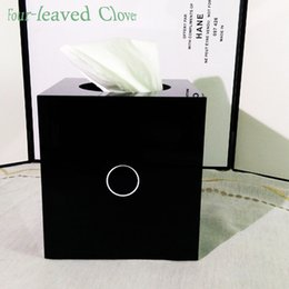 Wholesale Paper Cylinder Box - Wholesale- 2016 Christmas Gift Limited Edition Luxury Brand C Logo Arcylic Cylinder Tissue Box Classic Roll Paper Holder Black