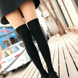 Wholesale tattoo tights stockings - Wholesale-2016 Free shipping! Fashion summer style Women Girls Nightclubs Sexy Black Tinted Sheer High Stocking Pantyhose Tattoo Tight