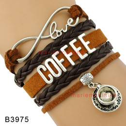Wholesale Brown Leather Infinity Bracelet - (10 Pieces Lot) Infinity Love Coffee Addict Steeped Tea Coffee Bracelet Coffee Cup Brown Multilayer Suede Leather Bracelet Custom any themes