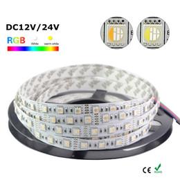 Fil dc24v en Ligne-Edison2011 Nouveau 16.4FT 5M 5050 RGBW 4 couleurs en 1 LED RGB + Bande LED flexible blanche Non étanche DC12V DC24V 60leds 300LEDs