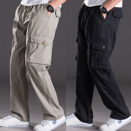 Wholesale Thin Waist Male - Thin summer casual pants male fat XL Multi Pocket Jeans Pants overalls elastic waist pants fat fat men