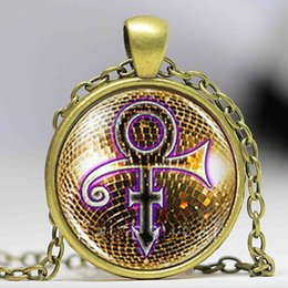 Wholesale Prince Jewelry - Prince RIP Gold Sign Symbol Shirt Poster Logo Mens Handmade vintage Purple Rain Necklace Pendant steampunk Jewelry Gift chain