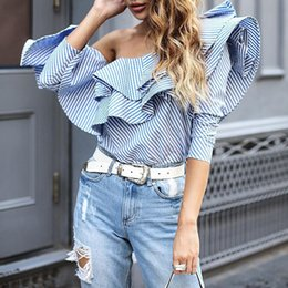 Wholesale Lady Geometric Blouse - Women One Shoulder Ruffle Blouses Shirts Lady Elegant Blue Striped Off Shoulder Tops Female Shirt Long Sleeve Ruffle Tops