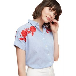 Wholesale Summer Shirts Blouses - Formal Embroidery Flower Summer Cardigan Women Striped Shirts Fall 2017 Fashion Casual Ropa Elegant Blouses Women Wear Free Shipping 50N0323