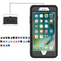 Wholesale Plastic Waterproof Cases - Robot Defender case with Belt Clip Waterproof Cover Without Logo for iPhone 7 6s 6 plus Samsung NOTE 8 S8 Plus Retail Package